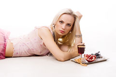 Luxurious woman and silver tray Stock Photography