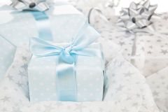 Luxurious wrapped gifts. Christmas background. stock photo