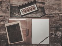 Luxurious writing tools. On a wooden table Stock Photography