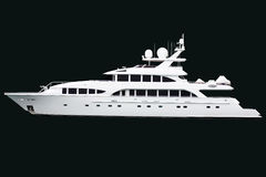 Luxurious yacht against black bg. Side view of luxurious white yacht, isolated on black background Royalty Free Stock Photo