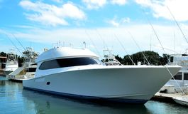 Luxurious yacht in marina. Side view of luxurious yacht moored in marina with blue sky and cloudscape background, St. Augustine, Florida, America Stock Photo