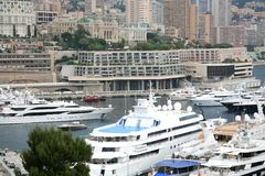 Luxurious yachts docked in Monaco Monte Carlo Stock Image