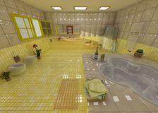 Luxurious yellow bathroom in a spa. Luxurious bathroom in a spa, with champagne, plants and opened windows Royalty Free Stock Photography