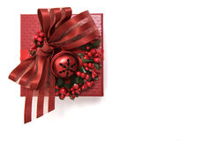 Luxuriously decorated red gift box, isolated Stock Image