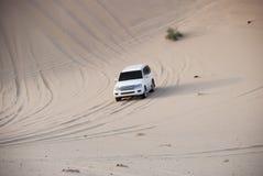 Luxurous vitSUW som allt hjuldrev 4x4 på ökensafari på dynexreme som springer i det arabia loppet, samla på sand i sportar royaltyfria foton