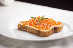 Luxurt Sandvich - Caviar and rosemary on bread Stock Images