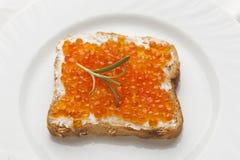 Luxurt Sandvich - Caviar and rosemary on bread Stock Photos