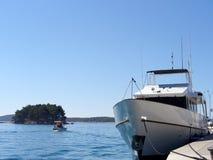 Luxury. Yacht docked Stock Photos