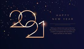 Free Luxury 2021 Happy New Year Background. Golden Design For Christmas And New Year 2021 Greeting Cards With New Year Wishes Of Health Stock Photo - 193394180