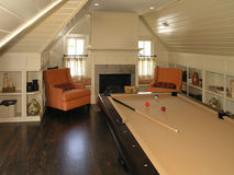Luxury 4 - Pool Room 1. Luxury House with regal elegant billiard pool room stock photo