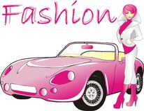 Luxury. Attractive women and pink car Stock Photography
