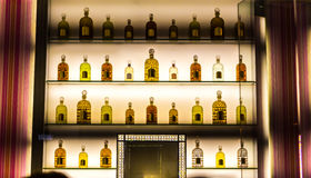 Luxury alcohol collection in hotel bar. Stock Photography