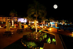 A luxury all inclusive beach resort at night Royalty Free Stock Image