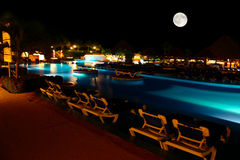 A luxury all inclusive beach resort at night Stock Photo