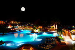 A luxury all inclusive beach resort at night Stock Photos