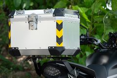 Luxury Aluminium Tail Luggage on the Touring Adventure Motorcycle in the Forrest Travel.  stock photography