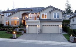 Luxury American House. Street View of a New large American house Royalty Free Stock Image