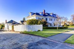 Luxury american house with curb appeal. Luxury american house with front yard and walkway view Royalty Free Stock Image