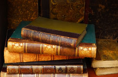 Luxury antique books. In the cupboard Stock Photography