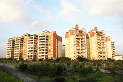A luxury apartment block. In the suburbs,meadows and groves surrouded,Foshan,Guangdong,South China.blue sky,clouds Royalty Free Stock Photos