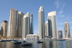 Luxury Apartment Buildings at Dubai Marina Stock Photos