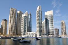 Luxury Apartment Buildings at Dubai Marina Stock Photos