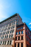 Luxury apartment buildings in Tribeca in New York. Low angle view of luxury apartment buildings in Tribeca North District of New York City stock image