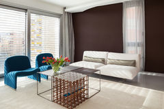 Luxury apartment, comfortable living room. With modern furniture Royalty Free Stock Photos