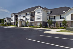 Luxury Apartment Complex. Horizontal shot of beautiful luxury apartment complex stock photo