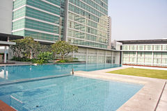 Luxury Apartment Condominium Property. With a Pool stock photos