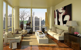 Luxury apartment decor 3d illustration Stock Photo