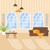 Luxury apartment interior with cozy furniture. Home design for modern house, flat living room with retro window. Indoor decoration. Table, sofa, lamp royalty free illustration