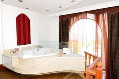 Luxury apartment with jacuzzi bathroom Stock Photos