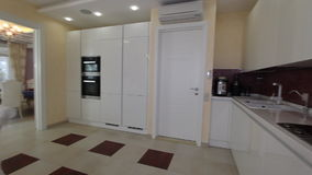 Luxury Apartment Modern kitchen interior. stock video footage