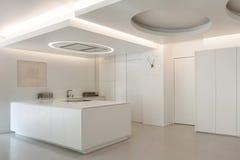 Luxury apartment, white kitchen Royalty Free Stock Images