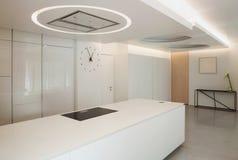Luxury apartment, white kitchen Royalty Free Stock Photo