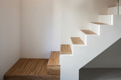 Luxury apartment, wooden staircase Stock Image