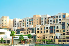 Luxury Apartments 3. A new Dubai hotel called Souk Al Bahar built in traditional Arabic architecture overlooking the new musical fountains royalty free stock photos