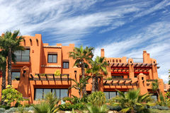 Luxury apartments and gardens on urbanisation in spain Royalty Free Stock Images