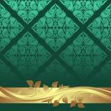 Luxury aquamarine Background with golden floral Border Royalty Free Stock Photo