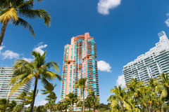 Luxury Architectural flat building Miami Style South Beach Florida Royalty Free Stock Images