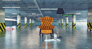 Luxury armchair in a urban empty parking Royalty Free Stock Photo