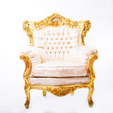 Luxury armchair. In white and gold Stock Photos
