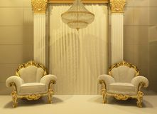 Luxury Armchairs In Royal Interior Royalty Free Stock Image