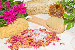 Luxury aromatic bathing accessories Stock Image