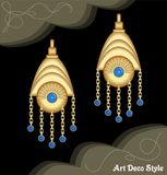 Luxury art deco filigree chain earrings, jewel with small blue sapphire , antique elegant gold jewelry, fashion in vector illustration