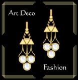 Luxury art deco filigree earrings, jewel with rare pearls , antique elegant gold jewelry, fashion in victorian style stock illustration