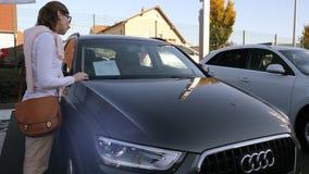 luxury Audi A5 gray limousine car sunlight flare stock video