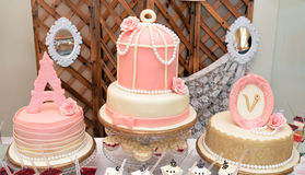 Luxury baby girl birthday  cake Royalty Free Stock Photos