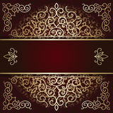 Luxury background card with maroon and gold ornament Royalty Free Stock Images